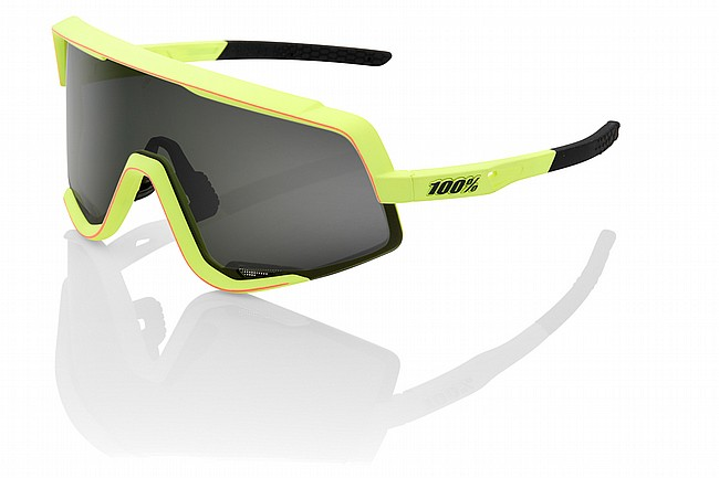100% Glendale Sunglasses Soft Tact Washed Out Neon Yellow and Pink/Smoke Le
