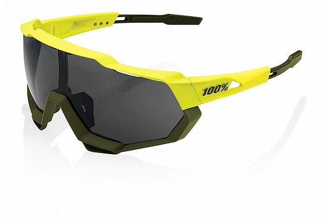 100% Speedtrap Sunglasses Soft Tact Banana - Black Mirror Lens