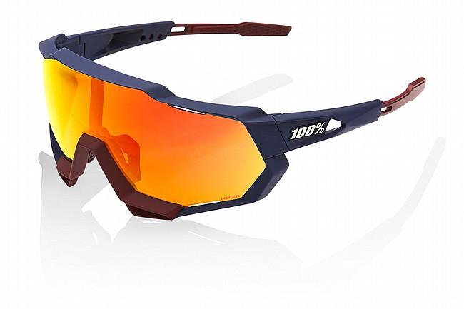 100% Speedtrap Sunglasses Soft Tact Flume - HiPER Red Mirror Lens