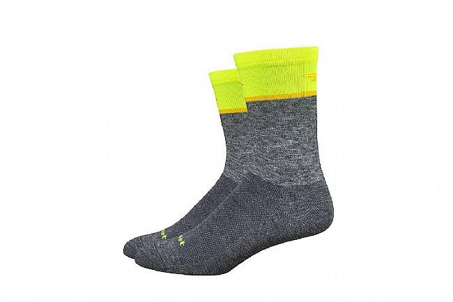 DeFeet Wooleater Comp 6 Inch Sock Gravel Grey/ Hi-Vis Yellow