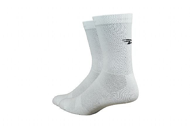 DeFeet Levitator Lite 6 Inch Sock White w/Black D-Logo