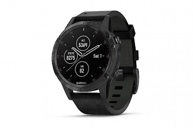 Garmin Fenix 5 Plus Sapphire GPS Watch Black - Leather Black Band