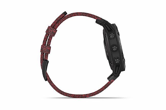Garmin Fenix 6 Sapphire Black DLC w/Red Nylon Band