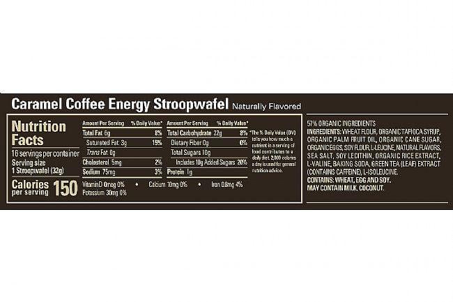 GU Energy Stroopwafel (Box of 16) Caramel Coffee Nutrition Facts