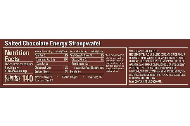 GU Energy Stroopwafel (Box of 16) Salted Chocolate (GF) Nutrition Facts