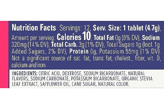 GU Hydration Drink Tabs (12 Servings) Nutrition Facts
