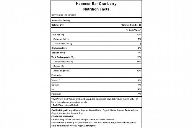 Hammer Nutrition Hammer Bar (Box of 12) Cranberry Nutrition Facts