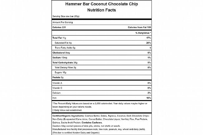 Hammer Nutrition Hammer Bar (Box of 12) Coconut Chocolate Chip Nutrition Facts