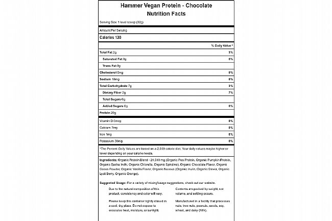 Hammer Nutrition Vegan Protein Powder (24 Servings) Chocolate Nutrition Facts