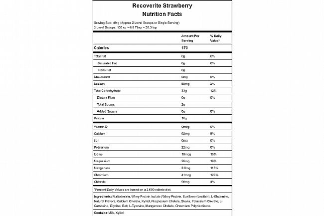 Hammer Nutrition Recoverite (Box of 12) Strawberry Nutrition Facts