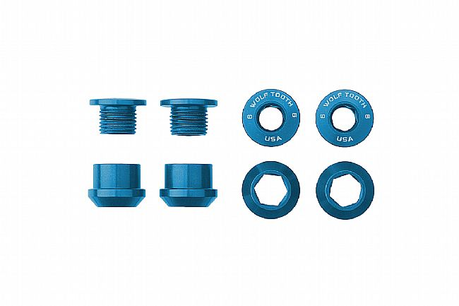 Wolf Tooth Components Set of 4 Alloy Chainring Bolts for 1x Drivetrains Blue
