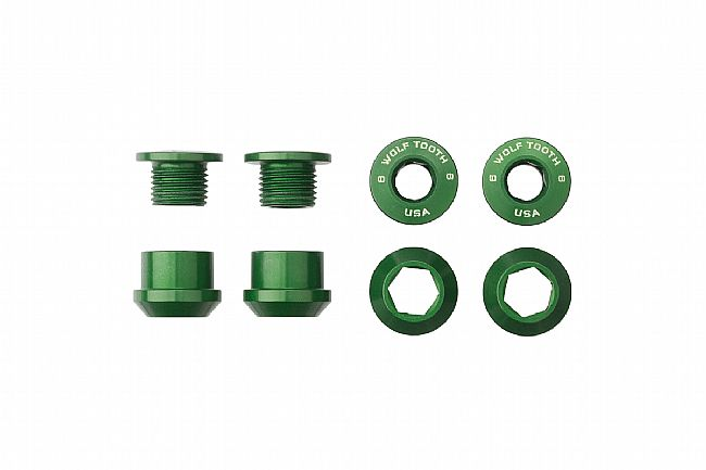Wolf Tooth Components Set of 4 Alloy Chainring Bolts for 1x Drivetrains Green