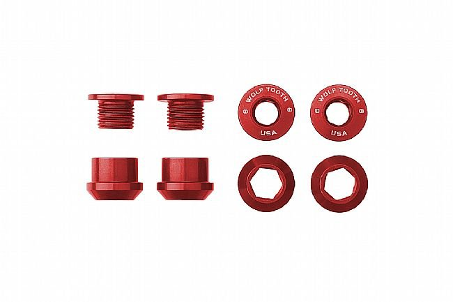 Wolf Tooth Components Set of 4 Alloy Chainring Bolts for 1x Drivetrains Red