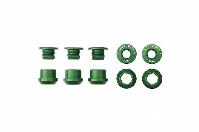Wolf Tooth Components Set of 5 Alloy Chainring Bolts for 1x Drivetrains Green