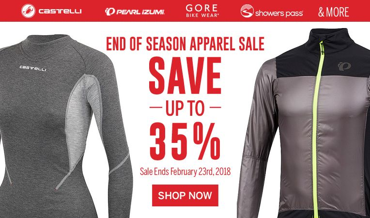 End of Season Apparel Sale - Save up to 35% - Sale Ends February 23rd, 2018