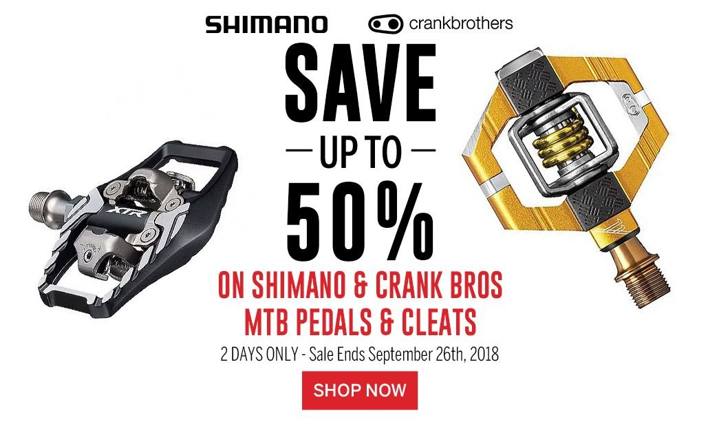 Save up to 50 on Shimano and Crank Bros MTB Pedals and Cleats