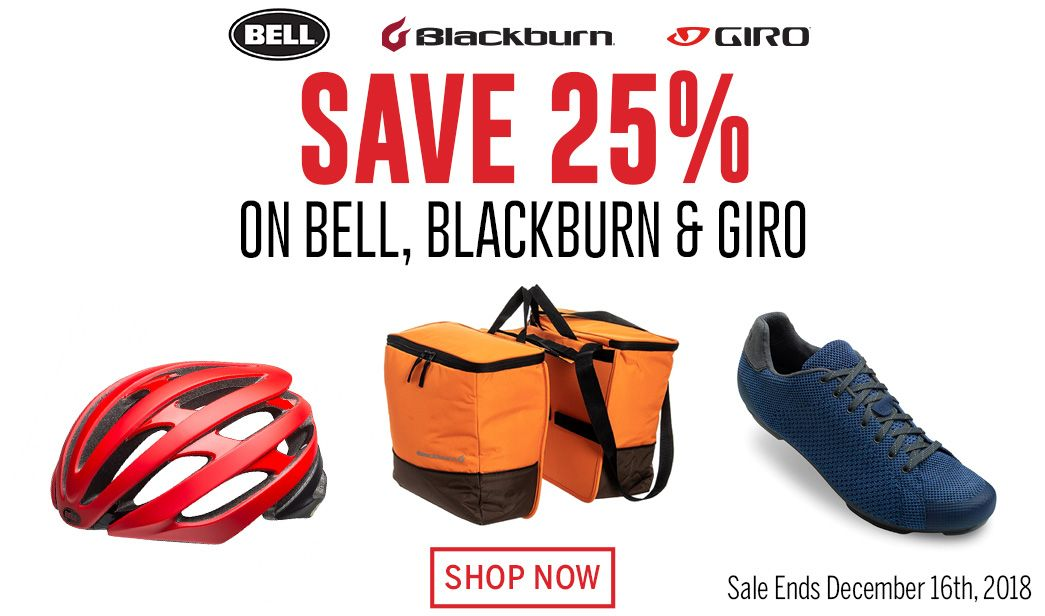 Save 25 on Bell, Blackburn and Giro