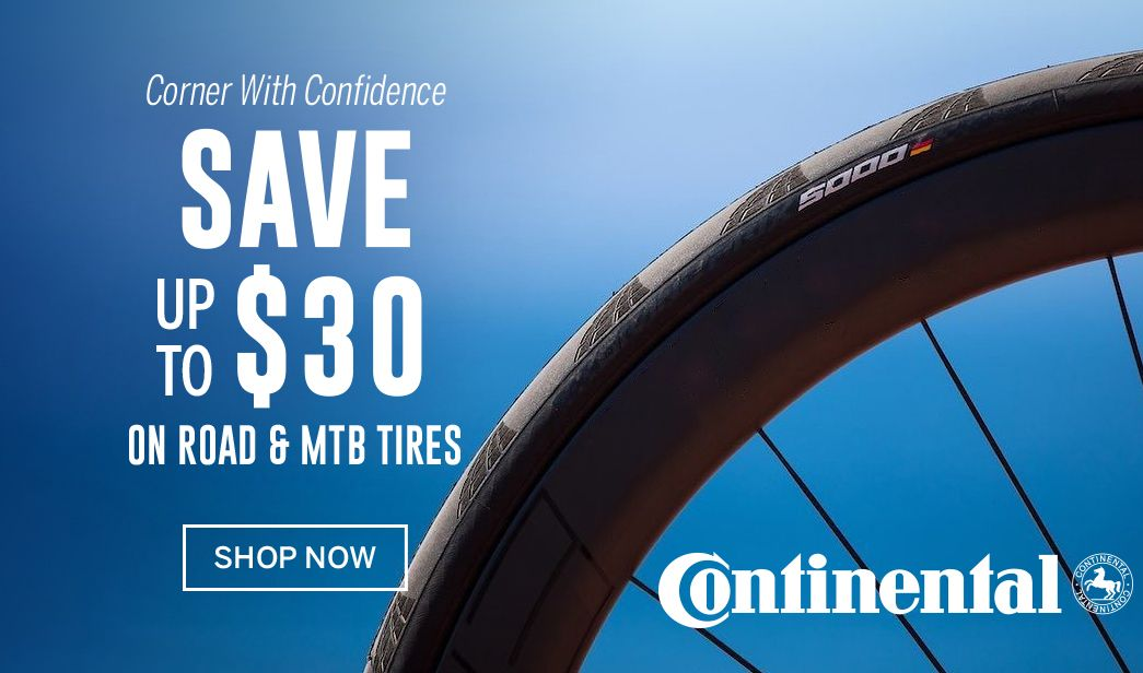 Save up to $30 on Continental bike tires